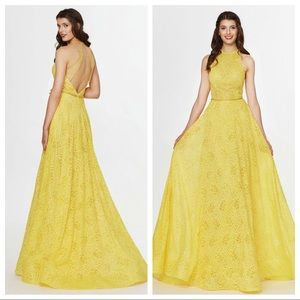 Yellow lace ball gown perfect for prom